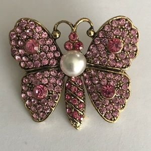 Jewelry - Pink butterfly brooch